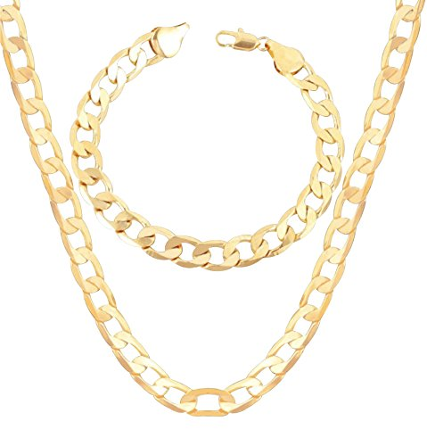 Gold 18KGP Cuban Curb Link Chain Bracelet and Necklace Set for Men or Women