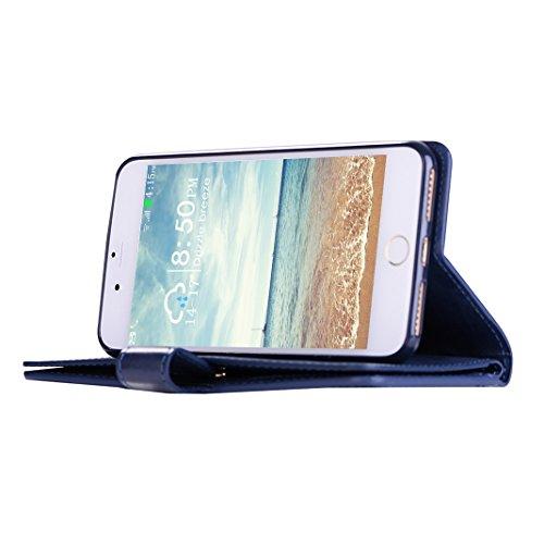 iPhone 8 Plus Cover, iPhone 7 Plus Custodia a portafoglio con 9 porta carte di credito, Moon mood® Libro Cuover Protettiva per Apple iPhone 7 Plus 5.5 pollice Leather Wallet Case Shell Cover con Stand Blu