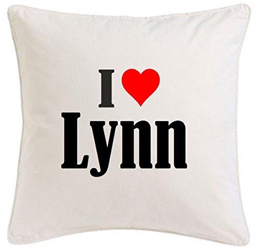 Kissenbezug I Love Lynn 40cmx40cm aus Mikrofaser ideales Geschenk und geschmackvolle Dekoration für jedes Wohnzimmer oder Schlafzimmer in Weiß mit Reißverschluss -