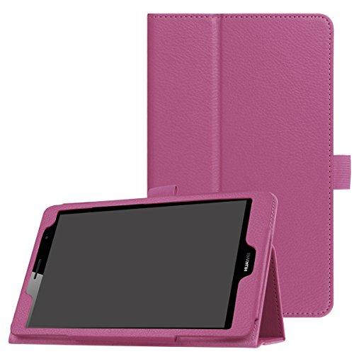 Caseforyou (for Huawei Mediapad T3 8.0) Flip Portfolio Hülle Fall and 360 Degree Full Body schützend Stoßstange Fall, Prämie Skins Material - Purple