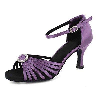 Scarpe da ballo-Personalizzabile-Da donna-Balli latino-americani-Tacco su misura-Finta pelle-Viola Rosso Purple