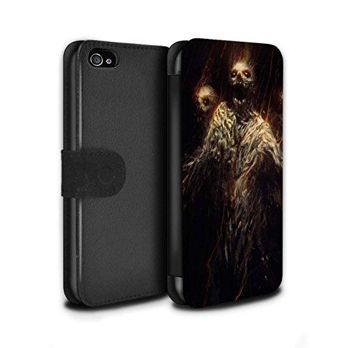 Offiziell Chris Cold PU-Leder Hülle/Case/Tasche/Cover für Apple iPhone 4/4S / Gehörnter Dämon Muster / Dämonisches Tier Kollektion Ghouls der Furcht