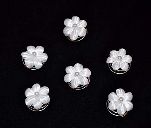 6 Curlies Haarnadeln Braut Kommunion Blume Perlen weiß, ivory