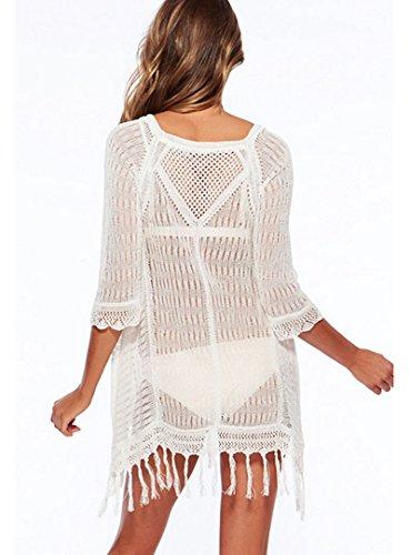 Milya Damen Gestrickte Bluse Strandurlaub Kleid Strandkleidung bikini  Kittel LangarmSpitze gesäumten hohlen Strandkleidung Kittel Weiß
