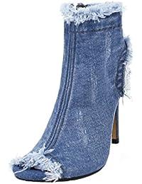 UH Femmes Chaussures Bottes pour L automne et printemp Toile de Jean Peep  Toe Slingback d964dc5aa8b5
