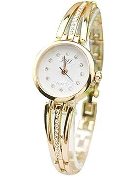 Gosear Frauen Lady Mode Strass Lässige Partei Quarz Armband Handgelenk Uhr Armbanduhr Goldene