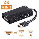 Adaptateur HDMI 4K UHD Convertisseur HDMI Actif Mutiports 4 En 1 HDMI vers HDMI DVI VGA Audio mâle à femelle câble adaptateur Compatible avec Ordinateurs Portable Box HDTV ou Vidéo Projecteur (Noir)