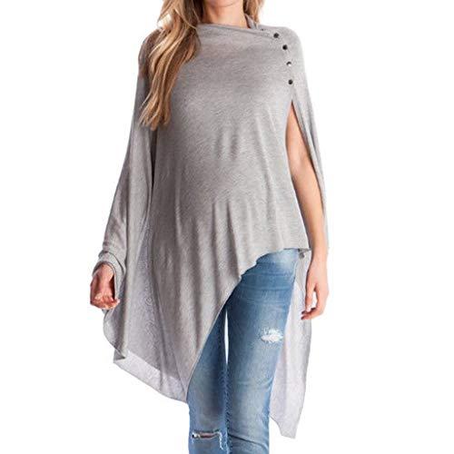 LHWY Umstandsmode Damen Tshirt Frauen Mutterschaft Unregelmäßiger Pullover Stillen T-Shirt Pflege Top Langarm Shirt - Pflege Übergröße Kostüm