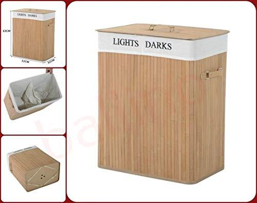 Ballino - cesto portabiancheria pieghevole in bambù, 105 litri, con coperchio e fodera rimovibile e lavabile, 2 colori, marrone chiaro e scuro, 62,5 x 52 x 32 cm double natural
