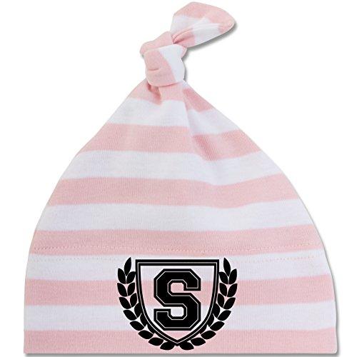 Anfangsbuchstaben Baby - S Collegestyle - Unisize - Babyrosa/Weiß - BZ15S - gestreifte Baby Mütze mit Knoten / Bommel für Jungen und Mädchen