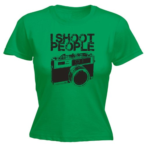 123t Women's - I SHOOT PEOPLE - CAMERA - Ladies Fitted T-shirt (Distressed Style Print)