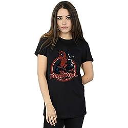 Marvel Mujer Deadpool Gun Finger Camiseta del Novio Fit Negro Large