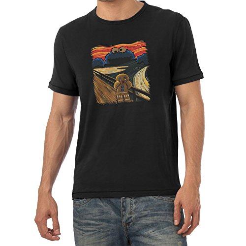 NERDO Gingerbread Scream - Herren T-Shirt, Größe XXL, Schwarz (Ein Schwarzes Gefahr, T-shirt Die)