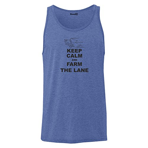 Brand88 - Keep Calm and Farm the Lane, Unisex Jersey Weste Blau Meliert
