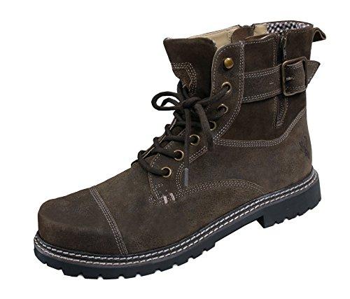 Erstklassige Trachtenstiefel Boots Herren - Trachtenschuh Wild-Leder Braun/Antikbraun - Top-Qualität (Braun Trachten Boots)
