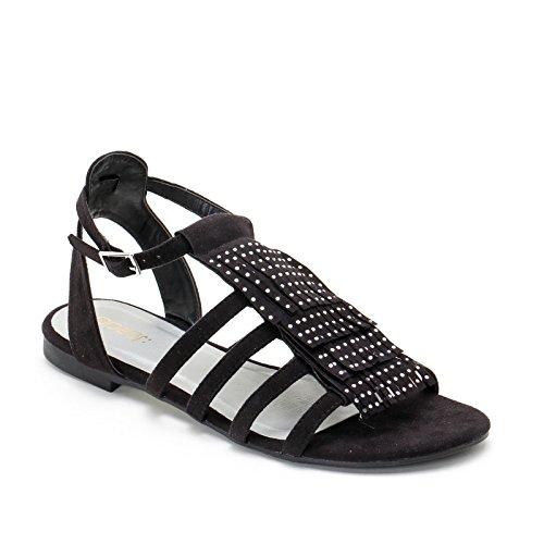 Obsel: by scarpe&scarpe - sandali bassi con frange e strass - 39,0, nero