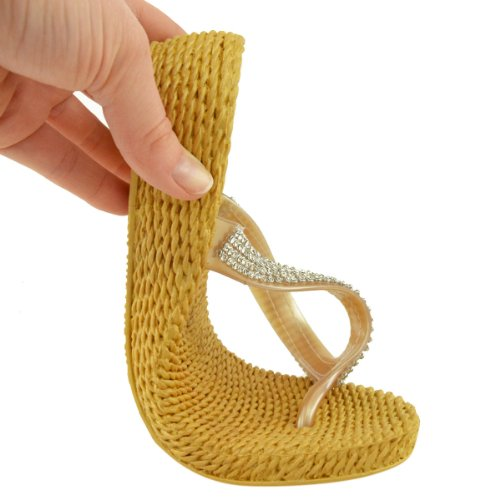 DONNA STRASS ESTATE SANDALI INFRADITO TACCO BASSO piatte comfort imbottito taglia ORO/argento sandali infradito