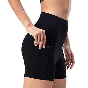 WateLves Damen Hohe Taille Yoga Sporthose Shorts Capri Fitness Dünne Hosen Schnell Trocknende Trainieren Mit Taschen Elastische Tanzen Workout Leggings