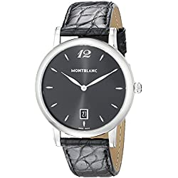 Montblanc Star Classique Date Black Leather Strap Swiss Watch 108769