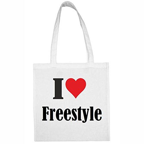 Tasche I Love Freestyle Größe 38x42 Farbe Weiss Druck Schwarz -