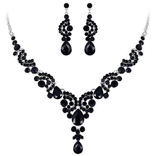 Ever Faith Strass Kristall Hochzeit Floral Wave Teardrop Halskette Ohrringe Set Schwarz Silber-Ton