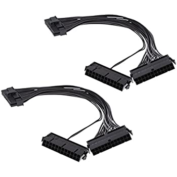Sharplace 2piece 24Pin Male to Female Dual PSU Power Mining Cables ATX Motherboard Adapter