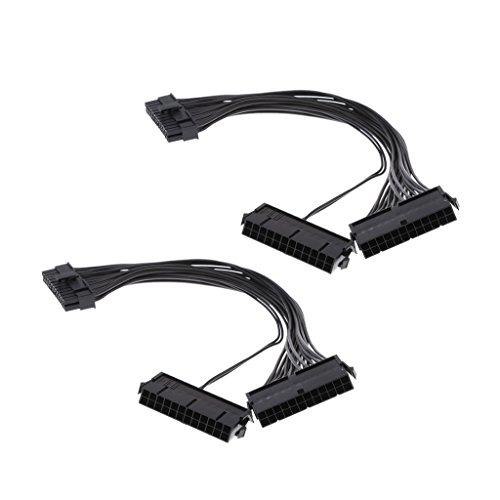 Sharplace 2 Stücke 24-polig Mining Kabel Dual-Netzteil 20+4 Pol. Verlängerungskabel für Litecoin- und Bitcoin-Mining-Rigs (Schwarz) -
