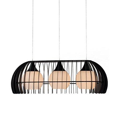 lustre GAODUZI Trois Table Éclairage Simple Moderne Creative Personnalité Étude Fer Fer Restaurant Lampes 3 Restaurant Suspension Réglable E27 (Couleur : Noir)