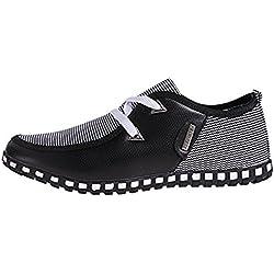 LIEBE721 Hombre Corte bajo Casual Mocasines Plano Cuero Lona Lace Up Zapatos de Conducción Negro