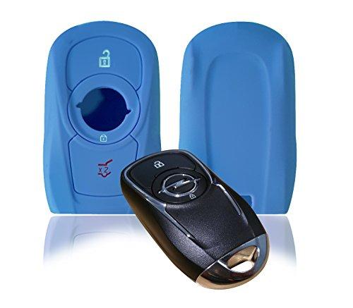 Wagners Hülle für Opel Smart Key Modell D - Cover Schutz 3-Tasten Autoschlüssel - Silikon Schlüssel Schutzhülle - für Keyless - Go (blau)