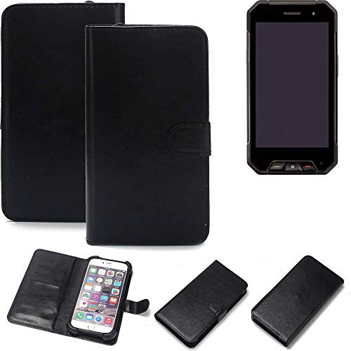 K-S-Trade Wallet Case Handyhülle für Cyrus CS 27 Schutz Hülle Smartphone Flip Cover Flipstyle Tasche Schutzhülle Flipcover Slim Bumper schwarz, 1x