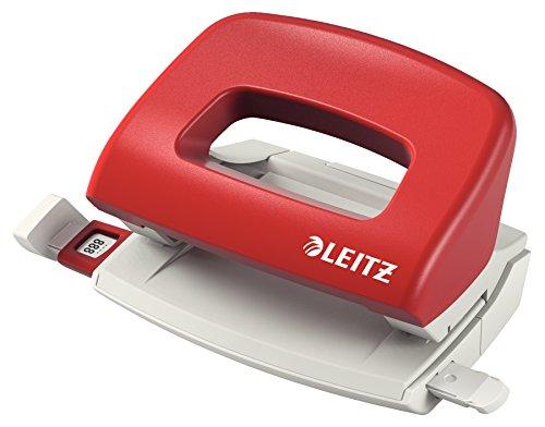 Leitz kleiner Locher, 10 Blatt, Rot, Anschlagschiene mit Formatvorgaben, Ergonomischer Griffbereich, Metall, NeXXt, 50580025