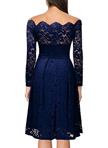 Miusol Kleid Vintage 1950er Off Schulter Cocktailkleid Retro Spitzen Schwingen Pinup Rockabilly Kleid Dunkelblau - 2