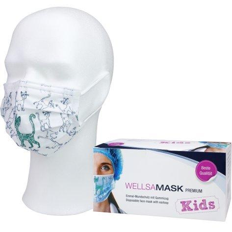 wellsamed wellsamask Mundschutz OP-Masken Einweg 50 Stück Kinder Mehrfarbig bunt Katze Gummibänder 3-lagig