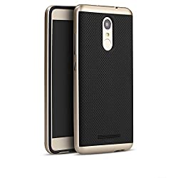 iPaky Luxury High Quality Ultra-Thin Dotted Silicon Back + PC Gold Frame Bumper Back Case Cover for Xiaomi Redmi Note 3 - Gold