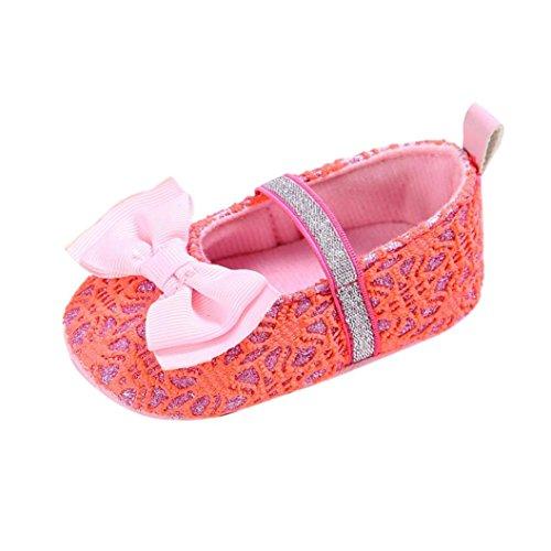 Ouneed® 0- 18 mois Bebe Paillete Premier Pas Souple Chaussures Design (12cm, Rose) Pastheque rouge