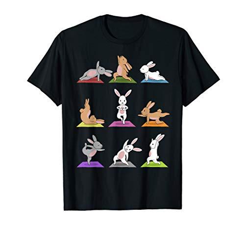 Hasen Yoga T-Shirt Lustige Häschen in Yoga Posen Sport Shirt