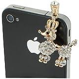 Bijoux de telephone portable CANICHE STRASS [SAMSUNG APPLE IPHONE NOKIA MICROSOFTLUMIA HTC ONE SONY XPERIA] - Blanc