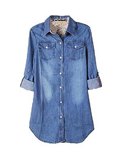 ZARU Camisa azul del dril de algodón de la vendimia de las mujeres Tops Casual manga larga blusa (XXL)