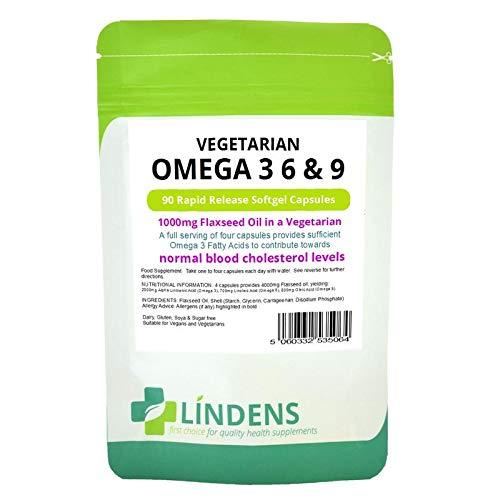 Lindens Vegetarisch Omega 3 6 9 Leinöl 3-PACK 270 Kapseln 1000mg Leinsamen