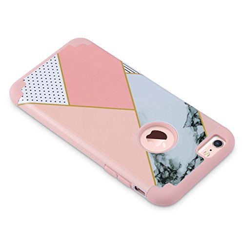 Cover iPhone 6s Plus, ULAK Cover per iPhone 6 Plus Marmo Custodia Stampato Design PC + Silicone ibrido impatto grande Difensore Combo duro morbido Case per Apple iPhone 6 Plus/ 6s Plus 5.5 (Marmo) Oro Rosa Marmo
