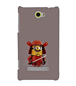 printtech Funny Yellow Samurai Back Case Cover for HTC 8S