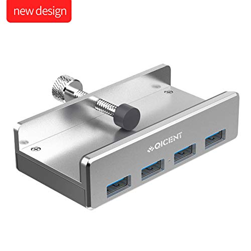 QICENT USB 3.0 Hub Mini 4 Port Aluminium hub with Clamping Funktion für Mac, Laptop, Computer