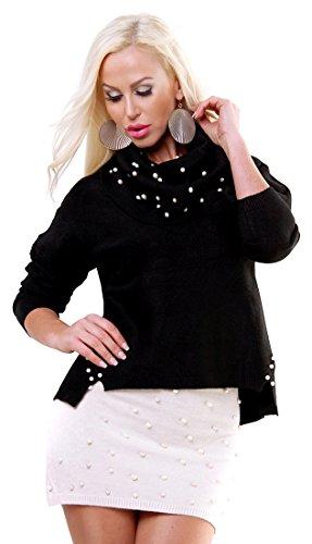 f4y Damen Set Zweiteiler Pearl - Schwarz - Size S/M - Pullover mit Loopschal/Mini-Rock