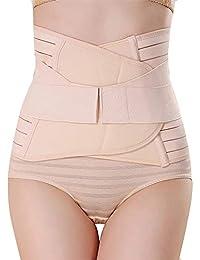 "GLAMORAS ® Women's Postpartum Recovery Belly Band Waist Trainer Cincher Trimmer Tummy Control Slimming Body Shaper Shapewear Belt (Beige, Fits Upto Size 36"")"