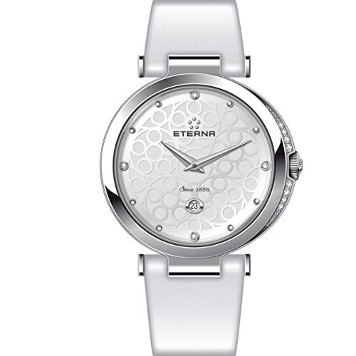 Eterna Grace Femme 32mm Bracelet Cuir Blanc Quartz Montre 2566-54-60-1373