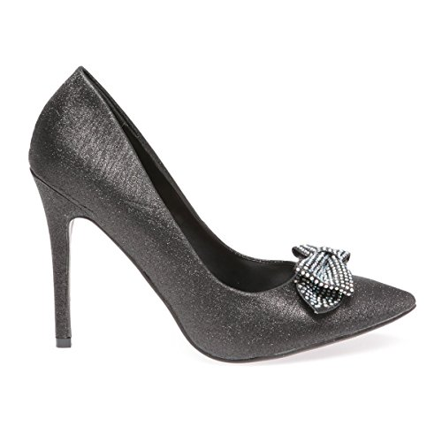 La Modeuse - Escarpins stilettos paillettes Noir