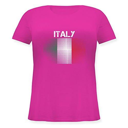 EM 2016 - Frankreich - Italy Flagge - Lockeres Damen-Shirt in großen Größen mit Rundhalsausschnitt Fuchsia