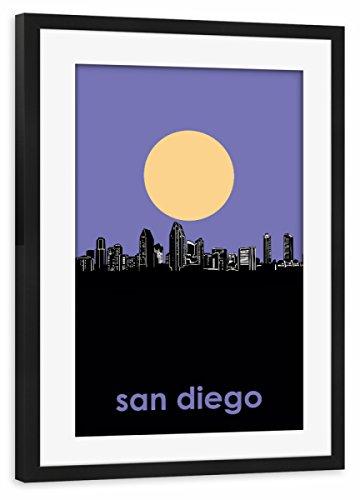 artboxONE Poster mit Rahmen Schwarz 45x30 cm San Diego Skyline Minimalism von Bekim Mehovic - gerahmtes Poster -