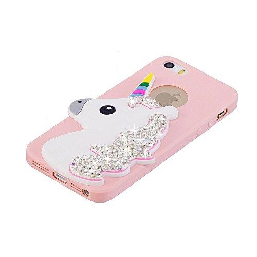 Solaxi iPhone 5 /5S /SE Cover 3D Cartoon Unicorno Bling Glitter Diamante Brillante Lusso Sollievo Motif Guscio Morbido Sottile TPU Silicone Custodia Antiurto della Calotta Shockproof Anti-Scraches Ski Rosa